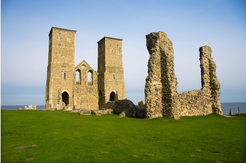 A view of the Reculver Towers, Reculver, England. (Photo by: Loop Images/UIG via Getty Images)