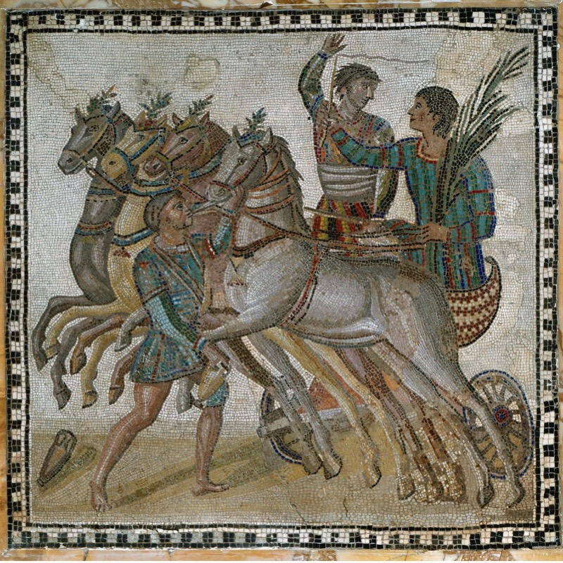 Roman art: Chariot race with the charioteers in starting position