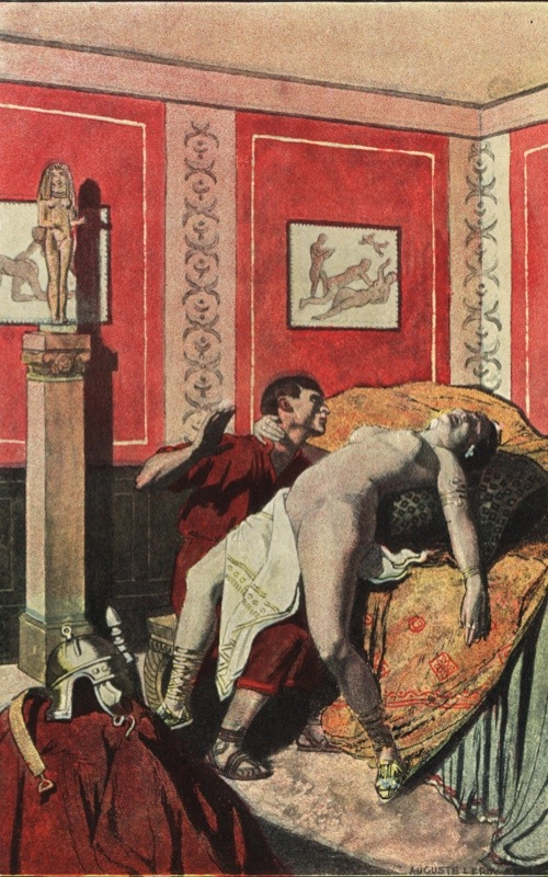 Roman empress Messalina naked in the Lupanar brothel with a soldier. Walls decorated with erotic paintings and statues. Colour printed illustration by Auguste Leroux from Felicien Champsaur's novel L'Orgie Latine (Roman Orgy), Fasquelle, Paris, 1903. (Photo by Florilegius/SSPL/Getty Images)