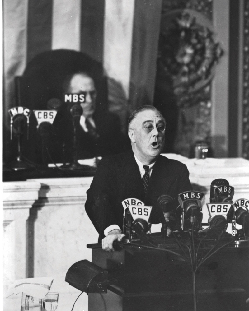 8th December 1941:  American President Franklin Roosevelt (1882 - 1945) addressing Congress.  (Photo by MPI/Getty Images)