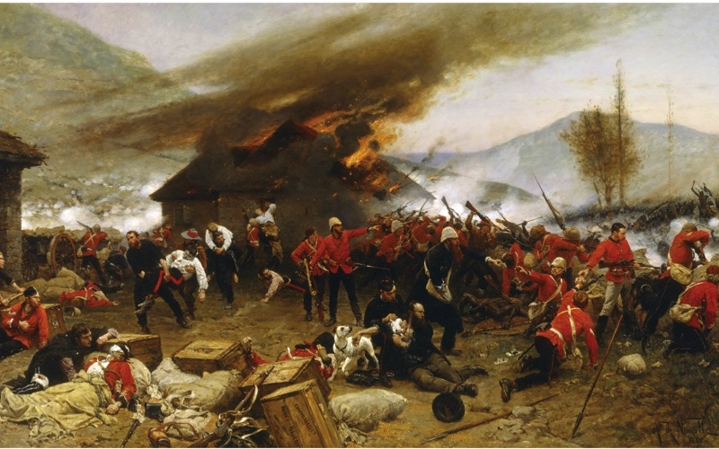 """Alphonse de Neuville's 1880 painting 'The Defence of Rorke's Drift'. The battle was to become a """"supreme symbol of imperial heroism"""". (Universal History Archive/UIG via Getty images)"""
