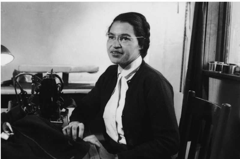 American Civil Rights activist Rosa Parks poses as she works as a seamstress, shortly after the beginning of the Montgomery bus boycott, Montgomery, Alabama, February 1956. (Photo by Don Cravens/The LIFE Images Collection/Getty Images)