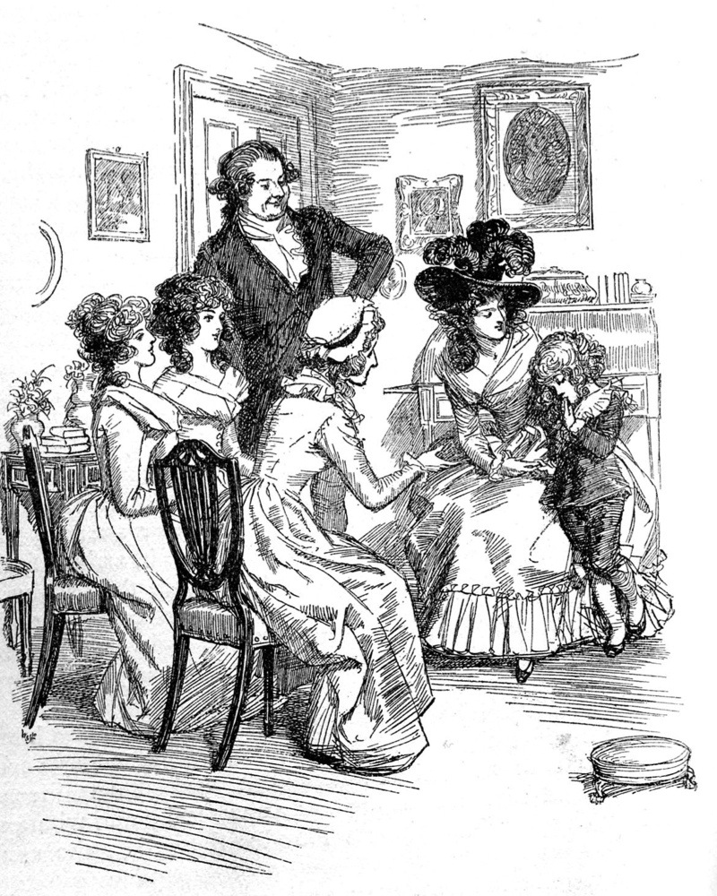 'Sense and Sensibility' by Jane Austen - Lady Middleton's son is shy before company. First published in 1896, Chapter VI. Illustration by Hugh Thomson (1860-1920). 1896. JA,  English novelist: 16 December 1775 – 18 July 1817  (Photo by Culture Club/Getty Images)