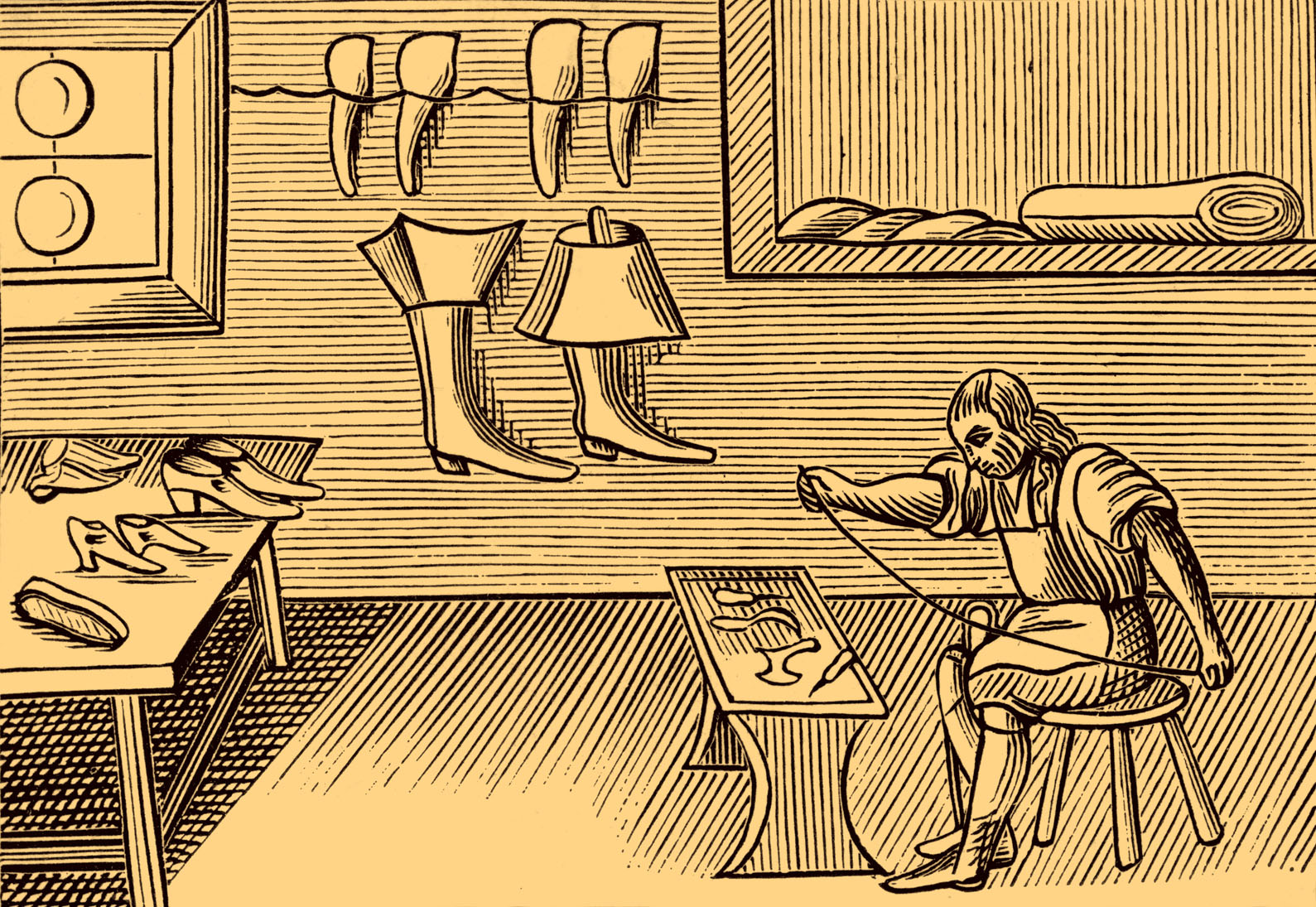 Shoemaker, taken from a 1659 English edition of John Amos Comenius' 'Orbis sensualium pictus', probably the most widely circulated school textbook of its time. JAC: Czech educator and writer, 28 March, 1592 – 4 November, 1670 (Photo by Culture Club/Getty Images) *** Local Caption ***