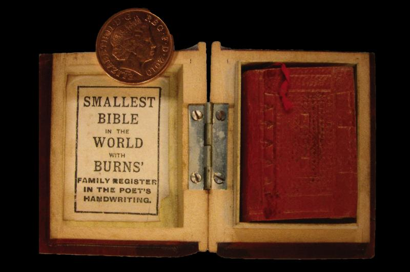 Smallest Bible in Mauchline case with penny 2