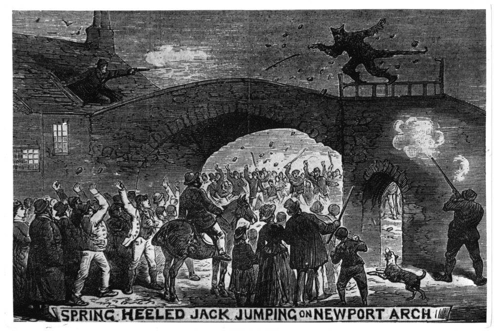 Spring-Heeled Jack, a devil-like character of English urban legend escapes from an angry mob at Newport Arch in Lincoln, 1877. Jack was first sighted in London in 1837, and was described as tall and thin, with fiery eyes, claws, and a capacity for making prodigious leaps. An engraving from Illustrated Police News, pub. 1877. (Photo by Hulton Archive/Getty Images)