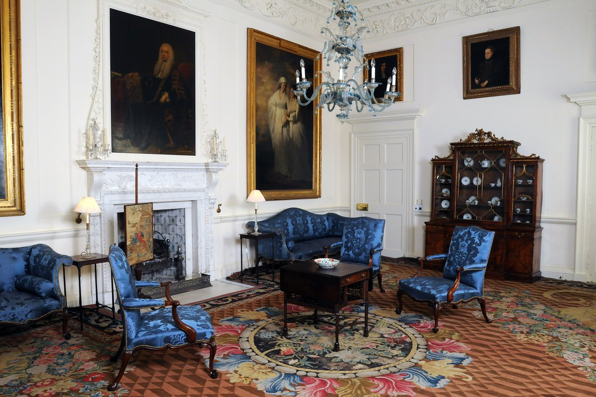 The 'Blue drawing room' at Dumfries House with the Chippendale bookcase on the right.