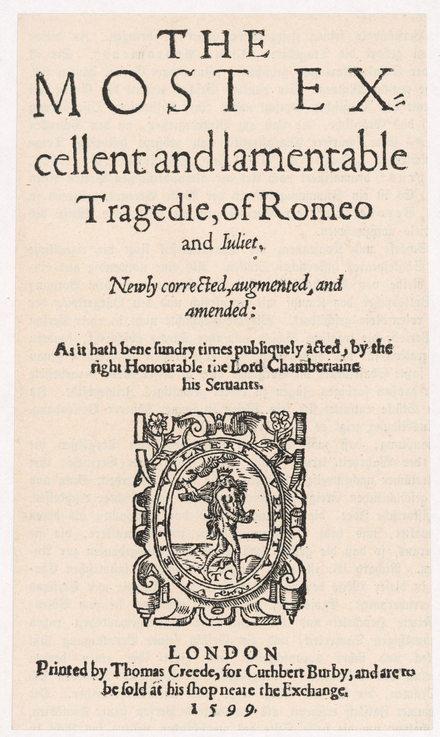 Title page of 'Romeo and Juliet', 1599 edition. (© Mary Evans Picture Library/Alamy Stock Photo)-b2c294d