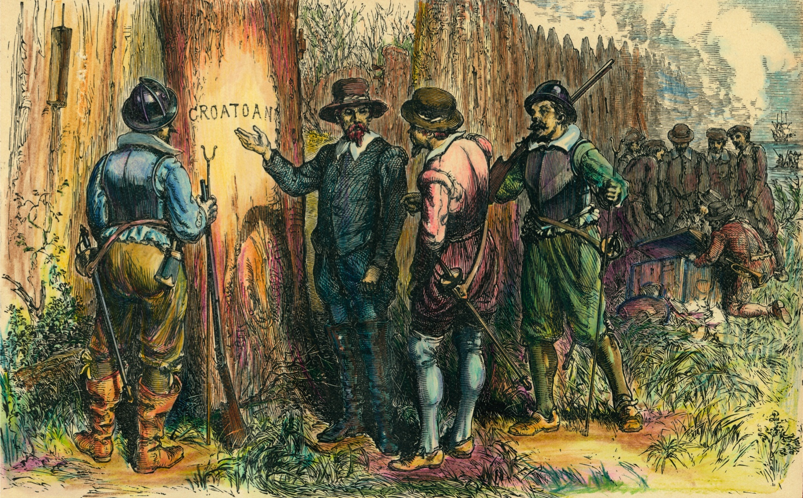 John White and others are shown on Roanoke Island, North Carolina, 1590, having returned to the English colony in America with relief supplies. White found no trace of the colonists. The picture depicts White pointing to the word Croatoan that he found carved into a tree trunk. The colony, founded in 1587, is often called the Lost Colony.