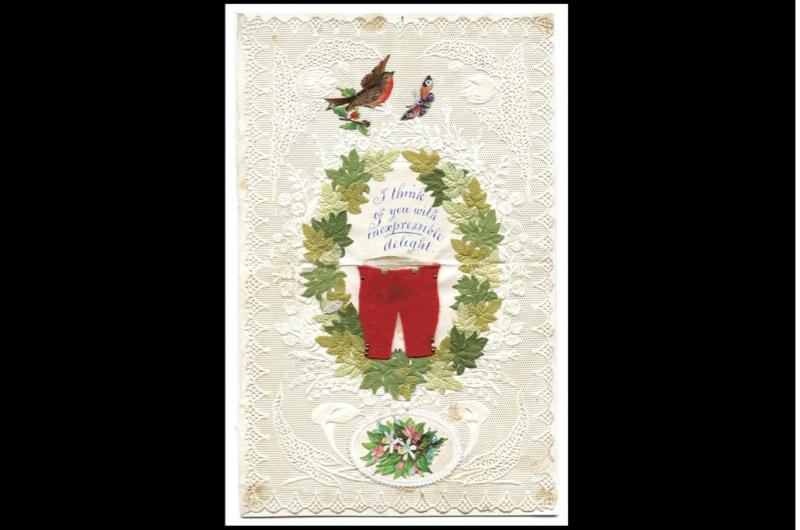 "A Valentine's day card depicting a pair of red trousers, a wreath, a robin and the words ""I think of you with inexpressible delight""."