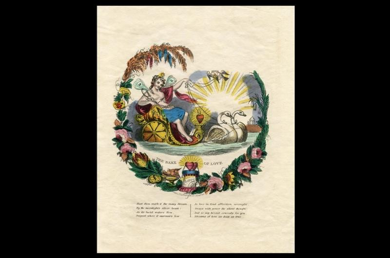A Valentine's day card showing a fair reclining in a carriage drawn by swans.