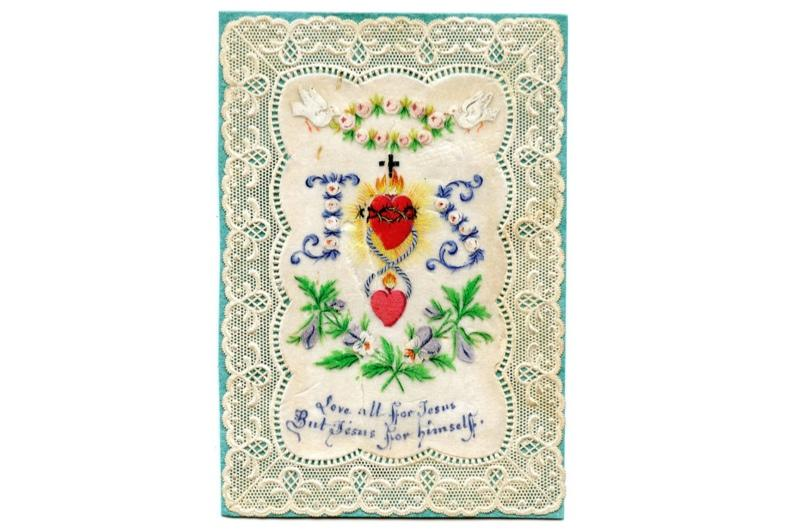 """A delicate lace Valentine's day card depicting the words: """"Love all for Jesus, but Jesus for himself."""""""