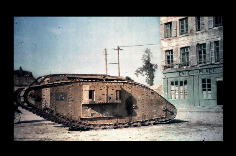 A colour image of a tank during world war one