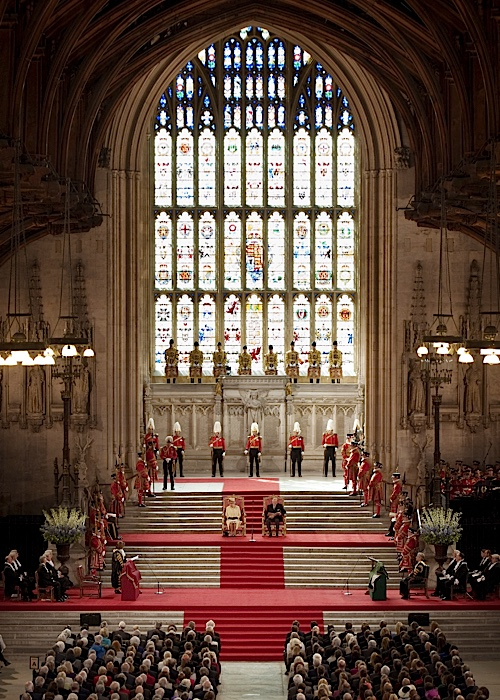 LONDON, ENGLAND - MARCH 20: Queen Elizabeth II and Prince Phillip, Duke of Edinburgh sit in Westminster Hall after addressing both Houses of Parliament on March 20, 2012 in London, England. Following the address to party leaders, MP's, peers and dignitaries from both the House of Commons and the House of Lords, a specially commissioned Diamond Jubilee stained glass window, a gift from the members of both Houses, was unveiled to mark the Queen's 60 year reign. (Photo by Ben Stansall - WPA Pool /Getty Images)