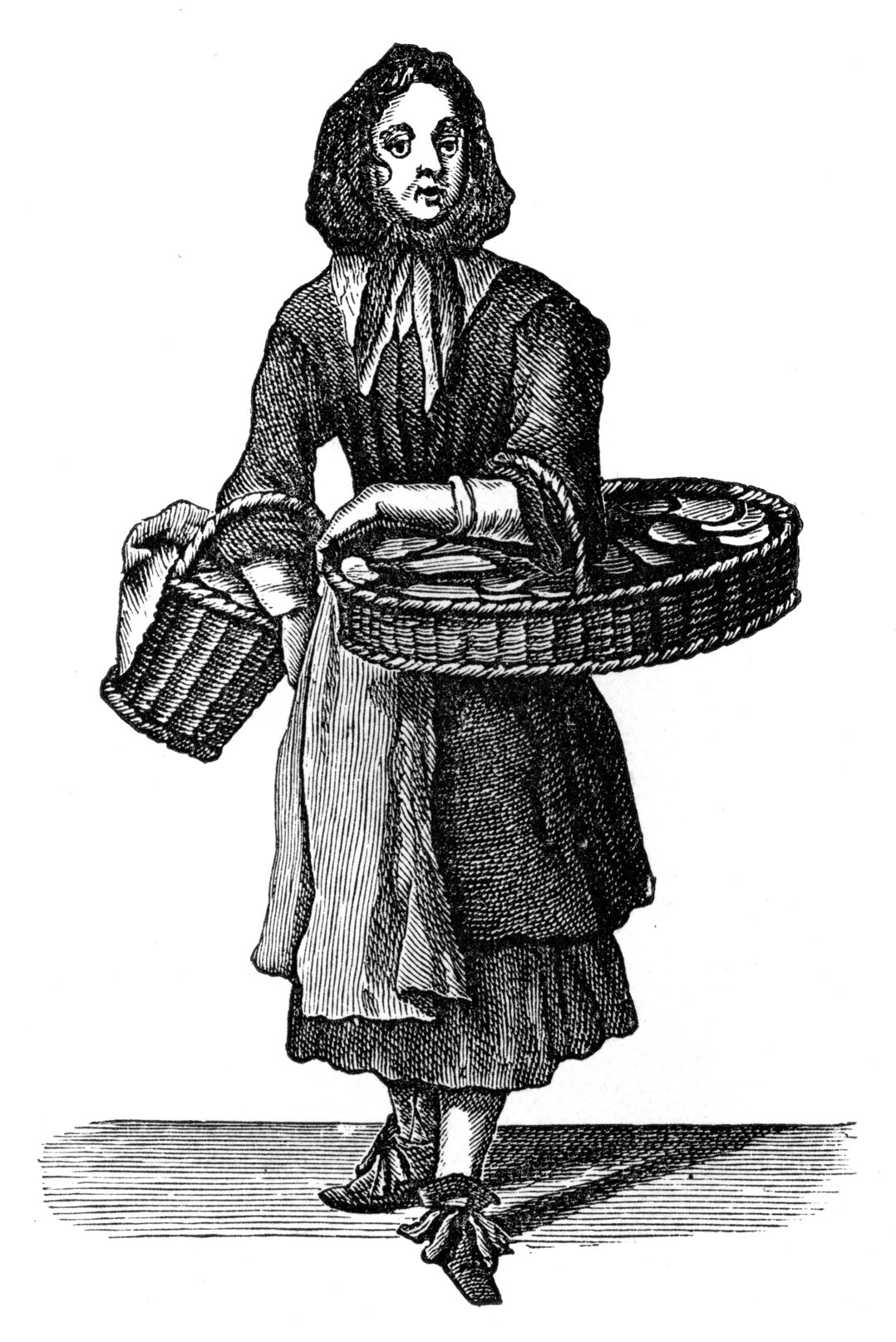 The Cries of London: 'Buy my Dutch Biskets' by Marcellus Laroon, 1689. Woman selling Dutch biscuits. Series of etchings first published by Pierce Tempest (London) under the title 'The Crys of London, both Men and Women, Drawn after life, in variety of Actions and Habits.' Marcellus Laroon the Elder, Franco- Dutch painter, 1653-1702. Pierce Tempest, printseller, 1653–1717. (Photo by Culture Club/Getty Images) *** Local Caption ***