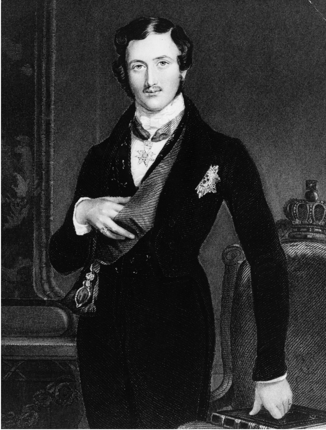 circa 1840: His Royal Highness Prince Albert Francis Charles Augustus Emmanuel of Saxe-Coburg-Gotha (1819 - 1861), Consort to Queen Victoria. Original Artwork: Engraved from a portrait by WC Ross (Photo by Hulton Archive/Getty Images)