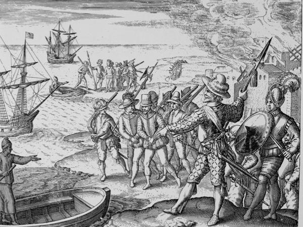 """Raleigh, Sir Walter; English explorer; c.1552-1618. """"How Raleigh (...) took a Spanish officer prisoner"""". (Expedtion to Guyana in search of El Dorado 1595). Copper engr., Theodor de Bry (1528-98). From: W.Raleigh (dt.), Guayanische Beschreibung (...), Frankfurt 1599, 8.Buch 3.Teil des de Bry'schen Reisewerkes."""