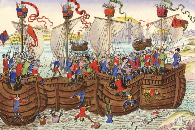 9EN-1372-0-0-A1 (183300)  'The Earl of Pembroke attacked by the Spanish Fleet, before La Rochelle'  Hundertj‰hriger Krieg zwischen Frankreic und England 1339-1453. - 'The Earl of Pembroke attacked by the Spanish Fleet, before La Rochelle'. - (1372). Lithographie, kol., nach Buchmalerei. Aus: Illuminated Illustrations of Froissart, Selected (..) by H. N.Humph- reys, London (W.Smith) 1845, pl.VIII.  E: 'The Earl of Pembroke attacked by the Spanish Fleet, before La Rochelle'  Hundret Years' War between France and England 1339-1453. - 'The Earl of Pembroke attacked by the Spanish Fleet, before La Rochelle'. - (1372). Lithograph, after book illumination. From: Illuminated Illustrations of Froissart, Selected (..) by H. N.Humph- reys, London (W.Smith) 1845, pl.VIII.