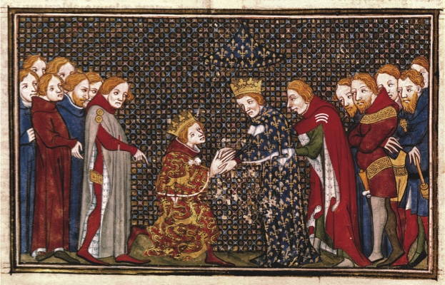 Edward III, King of England (1327-77); 1312-1377.-Edward III pays simple homage for Aquitaine to Philip VI of France in Amiens.-Book illumination, French, 1375/79. Fr.: Les Grandes Chroniques des France, Ms. Français 2813, fol.357 v,