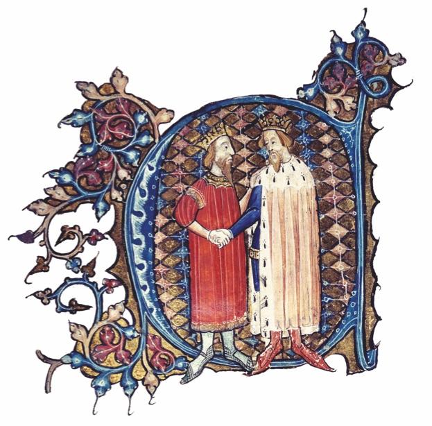 1EN-775-E1357-1  Eduard III. und David II. Bruce 1357  Eduard III., Koenig v. England (1327-77), 1312-1377.  /  Initiale 'C' mit Darstel- lung Eduards III. und Davids II. Bruce, Koenig von Schottland, nach Unterzeich- nung des Friedensvertrages von Berwick am 3. Oktober 1357 (Freilassung Davids aus engl.Gefangenschaft v. 1346-57). - Buchmalerei, England (London), 1386/99. Ms. Cotton Nero D. VI, fol.61 v, London, British Library.  E: Edward III and David II Bruce / 1357  Edward III, King of England (1327-77), 1312-1377.  /  Initial 'C' with depic- tion of Edward III and David II Bruce, King of Scotland, after signing the Treaty of Berwick on 3 October 1357 (Davd's release from English imprison- ment, 1346-57). -  / Illumination, England (London), 1386-99. Ms. Cotton Nero D. VI, f. 61 v, London, British Library.