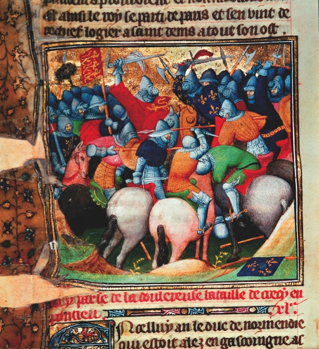 7-L3-Z32-01-05-63   F: Bataille de Crecy / Enluminure 14e siecle  Guerre de Cent Ans, 1339-1453 / Bataille de Crecy (Crecy-en- Ponthieu), 26 ao t 1346 (victoire du roi Edouard III d' Angleterre sur le roi de France Philippe VI). - La bataille de Crecy. - Enluminure francaise, 14e siecle. In : Grandes Chroniques de France. Ms. Cotton Nero E.II, fol. 152 v  ORIGINAL:  Scene from the Battle of Crecy,1346.Fierce fighting between soldiers and knights in armour during the Battle of Crecy, Picardie,France. From 'Les Chroniques de France' Cott.Nero.E.II.fol.152 v (detail). The British Library, London, Great Britain