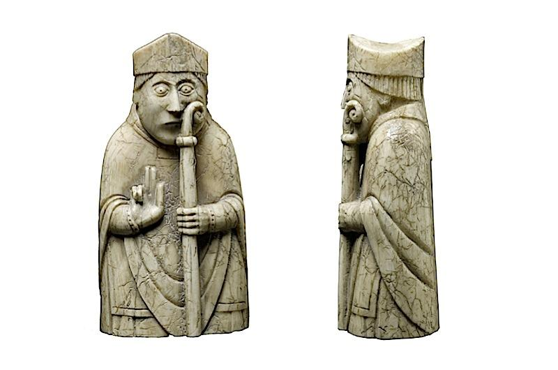 Pieces from the Lewis Chessmen, some of the earliest chessmen to survive.