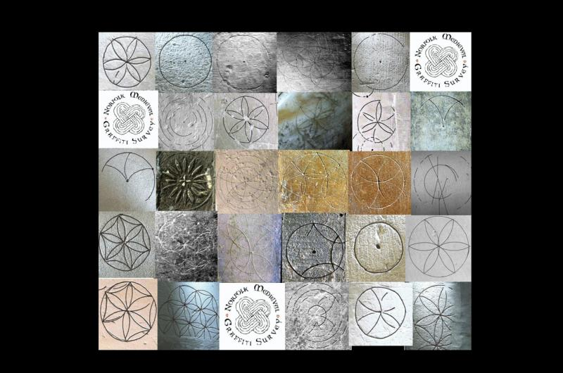 A compilation of compass drawn circles, and variants found in many of the churches