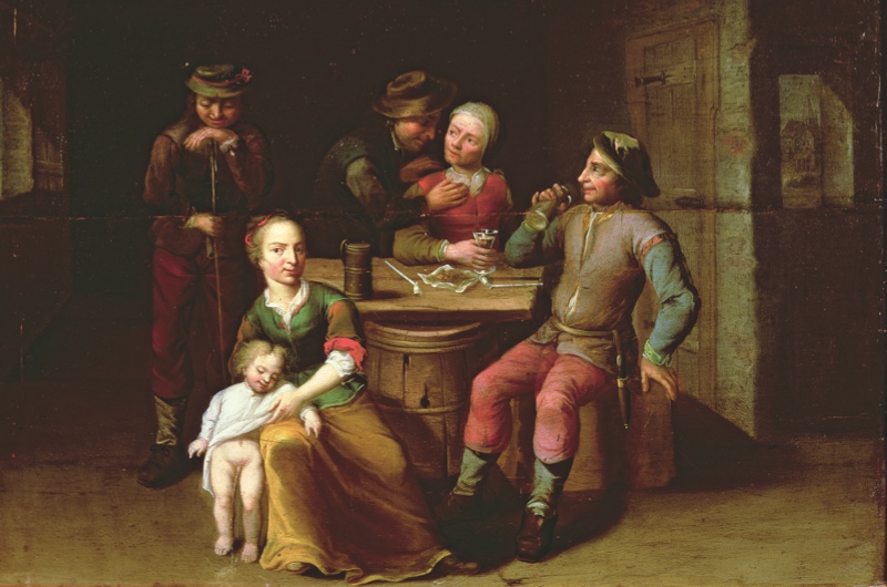 PFA 188027                                 A Peasant Family in an Interior (oil on canvas)                                 German School, (18th century)                                 PHILLIPS FINE ART AUCTIONEERS, ,