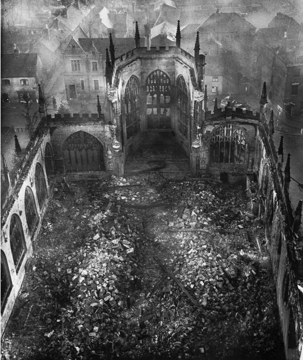 November 1940:  The ruins of Coventry Cathedral after the night Blitz on Coventry.  (Photo by Fox Photos/Getty Images)
