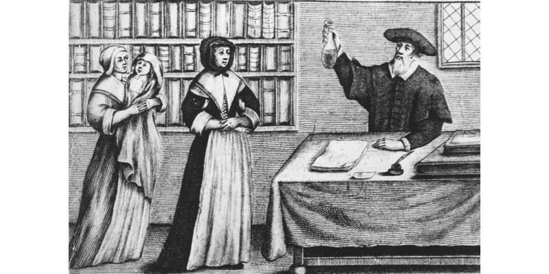 Circa 1650, A doctor holds up some medicine he has prepared for a sick baby being held by a woman on the left. Original Artwork: Engraving entitled 'The Doctor's Dispensatory or the Art of Physic Restored to Practise' from Louis Fagan's 'Perscriptive Catalogue of Eng (Photo by Hulton Archive/Getty Images)