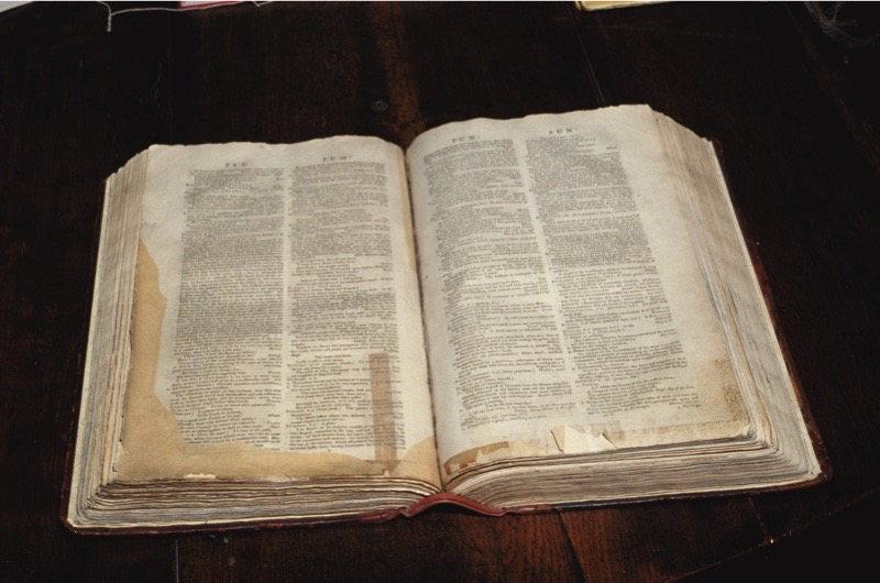Dr Samuel Johnson's (1709-1784) dictionary, which was first published in 1755, on display in London, circa 1990. (Photo by RDImages/Epics/Getty Images)