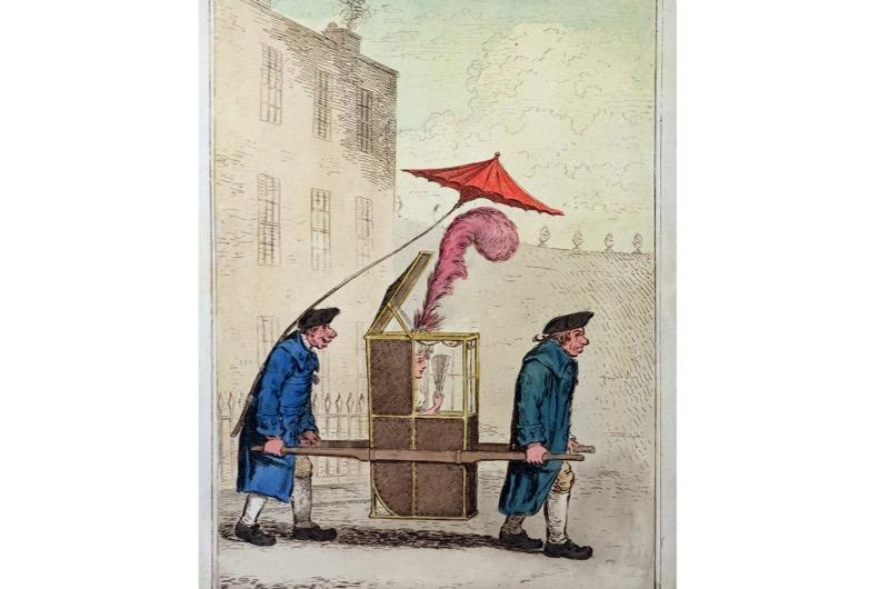 A depiction of a Georgian Bath chair.