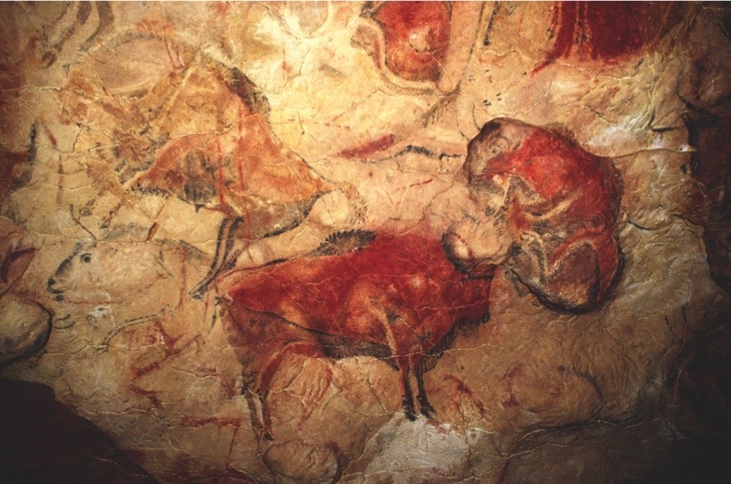 Cave of Altamira, Cave painting showing Wisents (Bison bonasus). Early Paleolithic period, mid ñ Magdalenien, c. 12000 BC. near Santillana del Mar (Spain, Cantabria).