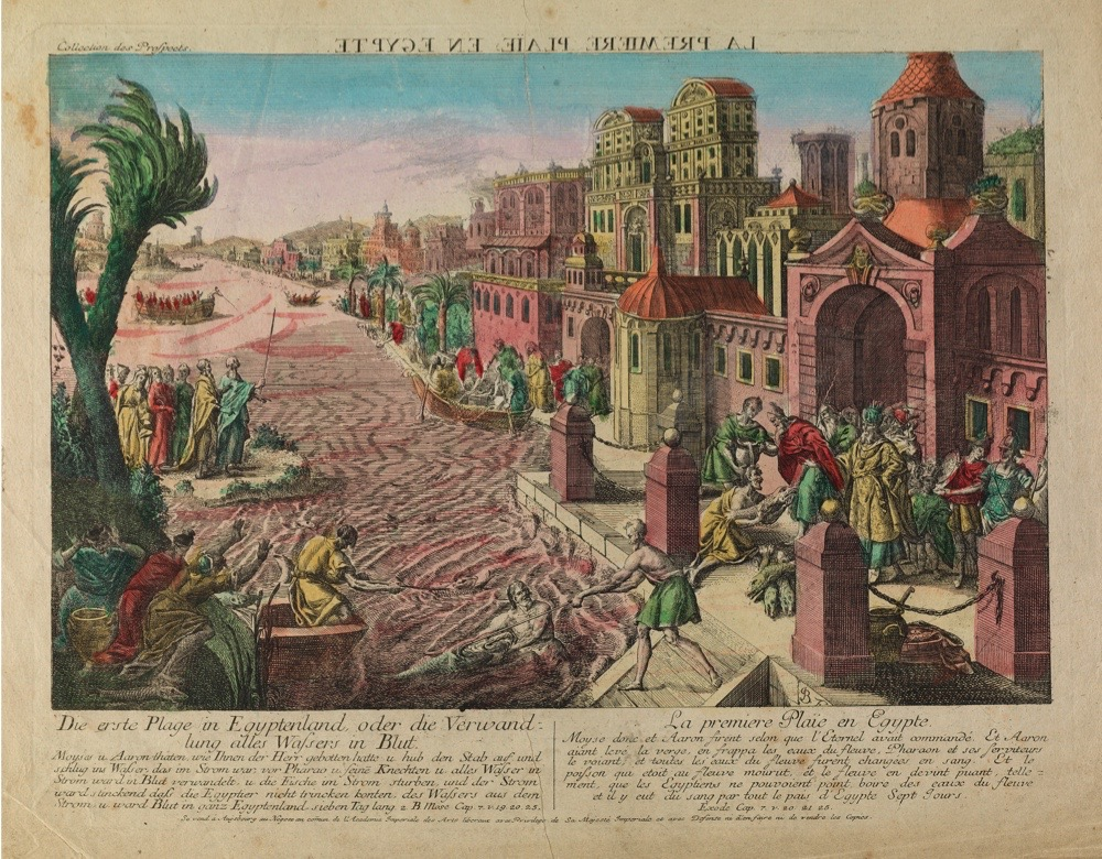V0010560 The first plague in Egypt, rivers turned to blood. Credit: Wellcome Library, London. Wellcome Images images@wellcome.ac.uk http://wellcomeimages.org The first plague in Egypt, rivers turned to blood. Coloured etching.   Lettering: Die erste Plage in Egyptenland, oder die Verwandlung alles Wassers in Blut. ... 2. Mose cap. 7.v.19, 20, 25. La premiere plaÔe en Egypte. ... Exode cap. 7.v.20, 21, 25.  The lettering above is in French and reversed.  Lettering continues with paragraphs describing the particular plague. Coloured etching 1775/1779 Published: [1775/1779]  Copyrighted work available under Creative Commons Attribution only licence CC BY 4.0 http://creativecommons.org/licenses/by/4.0/