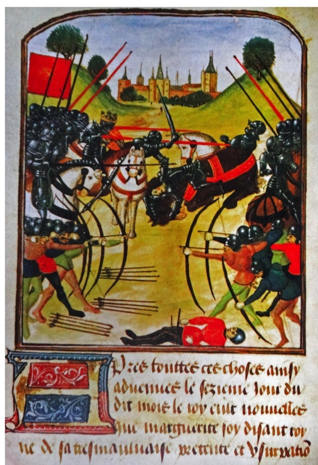 Illumination of the Battle of Tewkesbury of 1471. Dated 15th Century (Photo by: Universal History Archive/UIG via Getty Images)