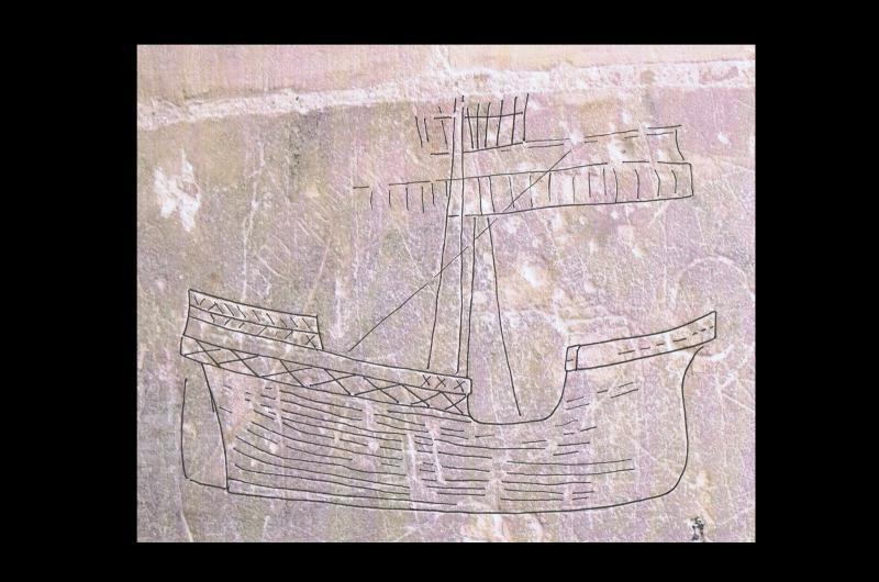 A graffiti ship carving