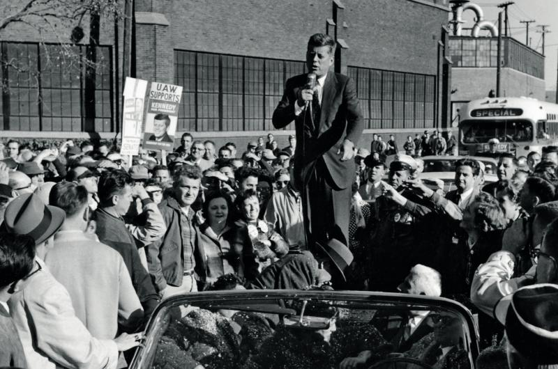 JFK in front of a crowd