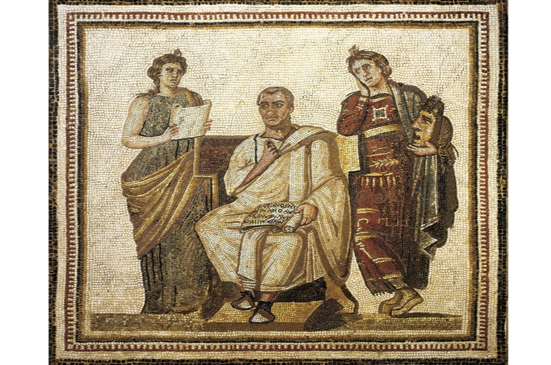 Mosaic depicting the poet Virgil sitting between the muses Clio and Melpomene. (Getty Images)