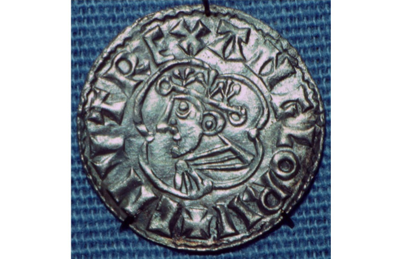 Silver penny of Cnut (990-1035), quatre-foil style, showing the obverse side. (Photo by CM Dixon/Print Collector/Getty Images)