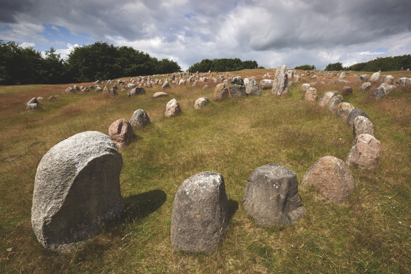 Mandatory Credit: Photo by Stuart Black/Robert Harding/REX (2609294a) Viking burial ground with stones placed in oval outline of a Viking ship, Lindholm Hoje, Aalborg, Jutland, Denmark, Scandinavia VARIOUS