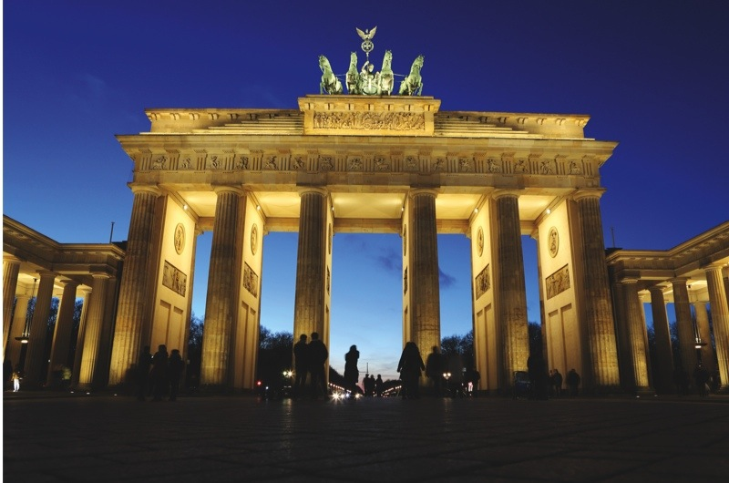 Mandatory Credit: Photo by Stuart Forster/REX/Shutterstock (5506076ak) Tourists mill around the Brandenburg Gate in Berlin, Germany. The landmark is topped by the Quadriga. Berlin, Germany - Dec 2015