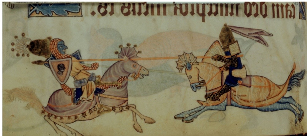 Luttrell Psalter, composed by Geoffrey Luttrell, Lord of Irnham, f° 82, Richard I, the Lion-Heart (1157-1199) and Saladin (1171-1193), c, 1325-1335, England, London, British Library. (Photo by Photo12/UIG/Getty Images)