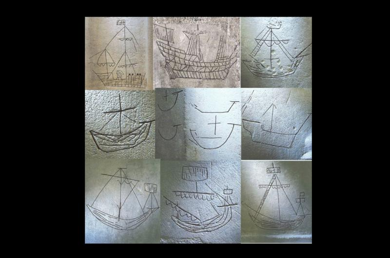 A collection of ship carvings