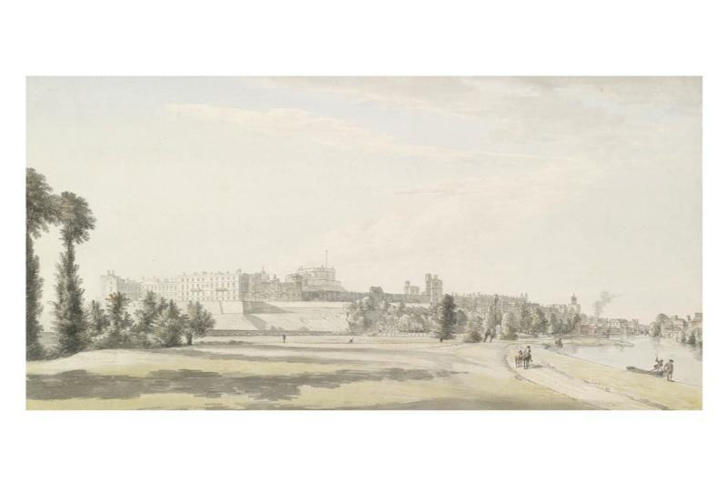 Landscape painted in the 18th century of Windsor Castle and its grounds.
