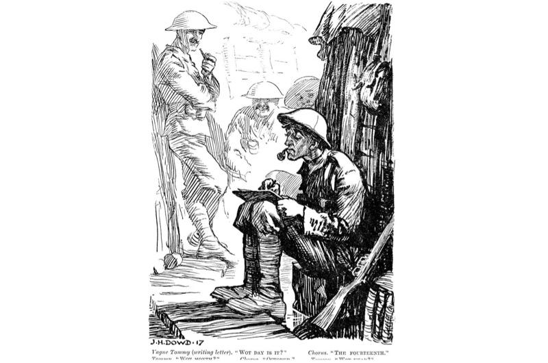 Punch cartoon depicting a tired solder in the trenches of the Western Front
