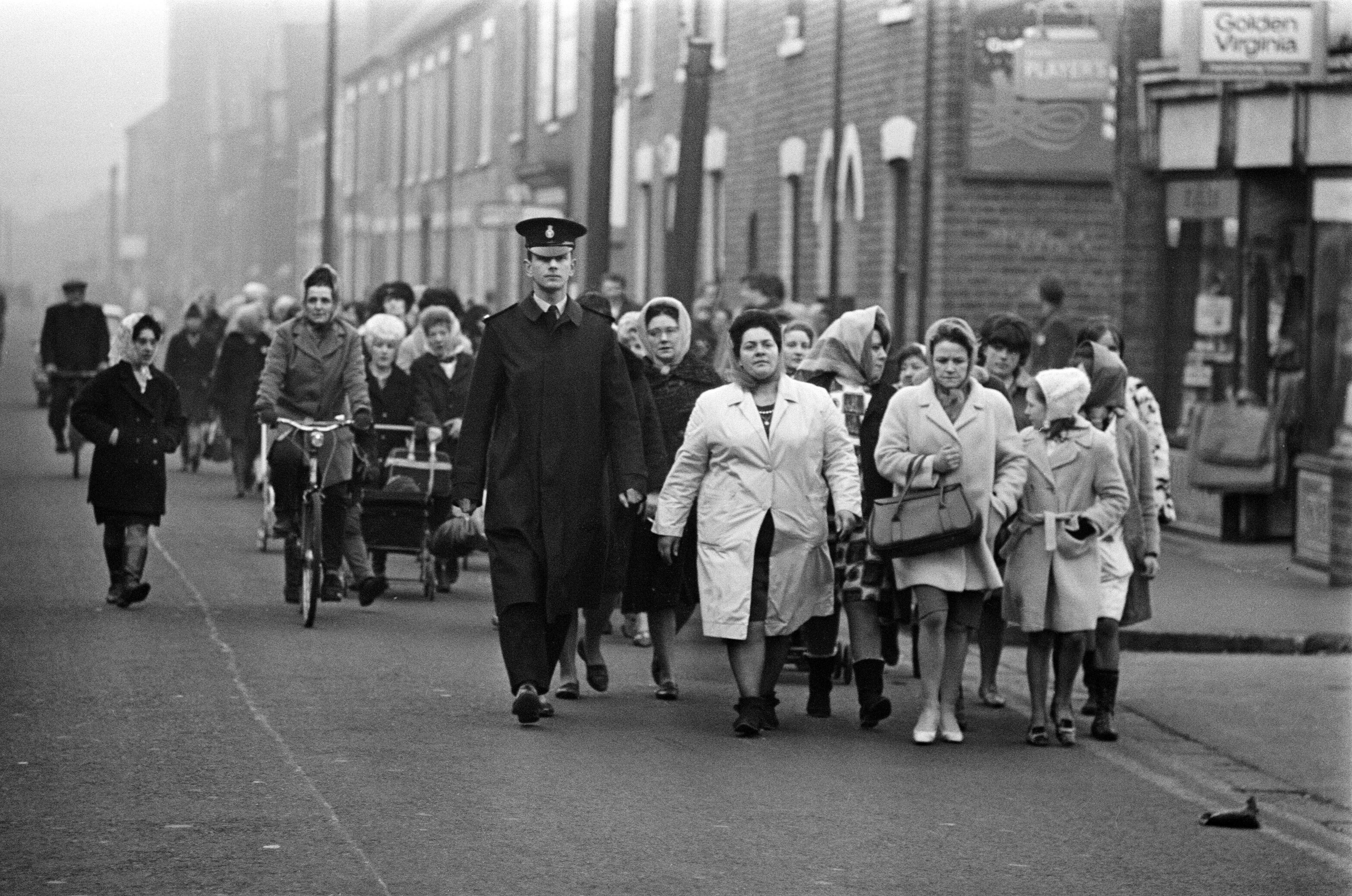 Lillian Bilocca leads the wives on their protest march in Hull