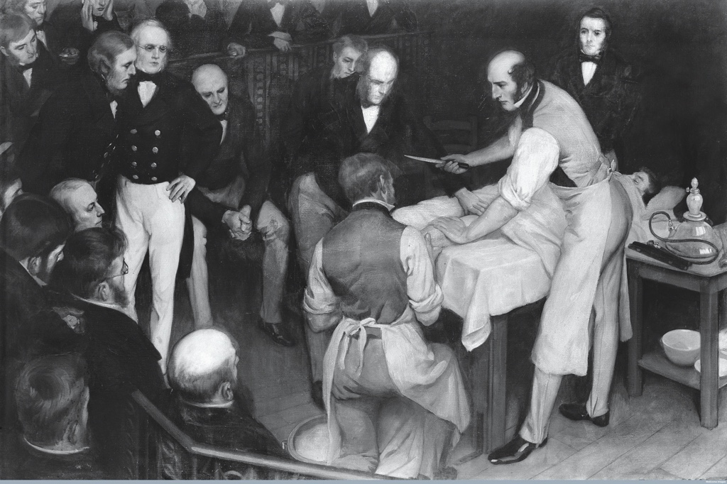 Victorian surgeon Robert Liston during an operation