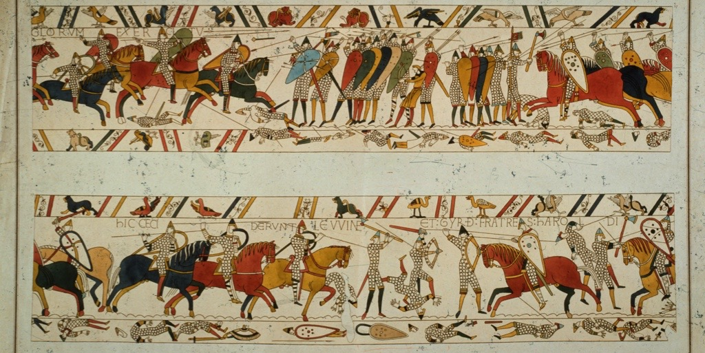 A scene from the Bayeux Tapestry, depicting the Norman invasion of 1066. The majority of historians now agree that the tapestry was probably commissioned by Odo of Bayeux, the half-brother of Duke William. (Photo by Hulton Archive/Getty Images)