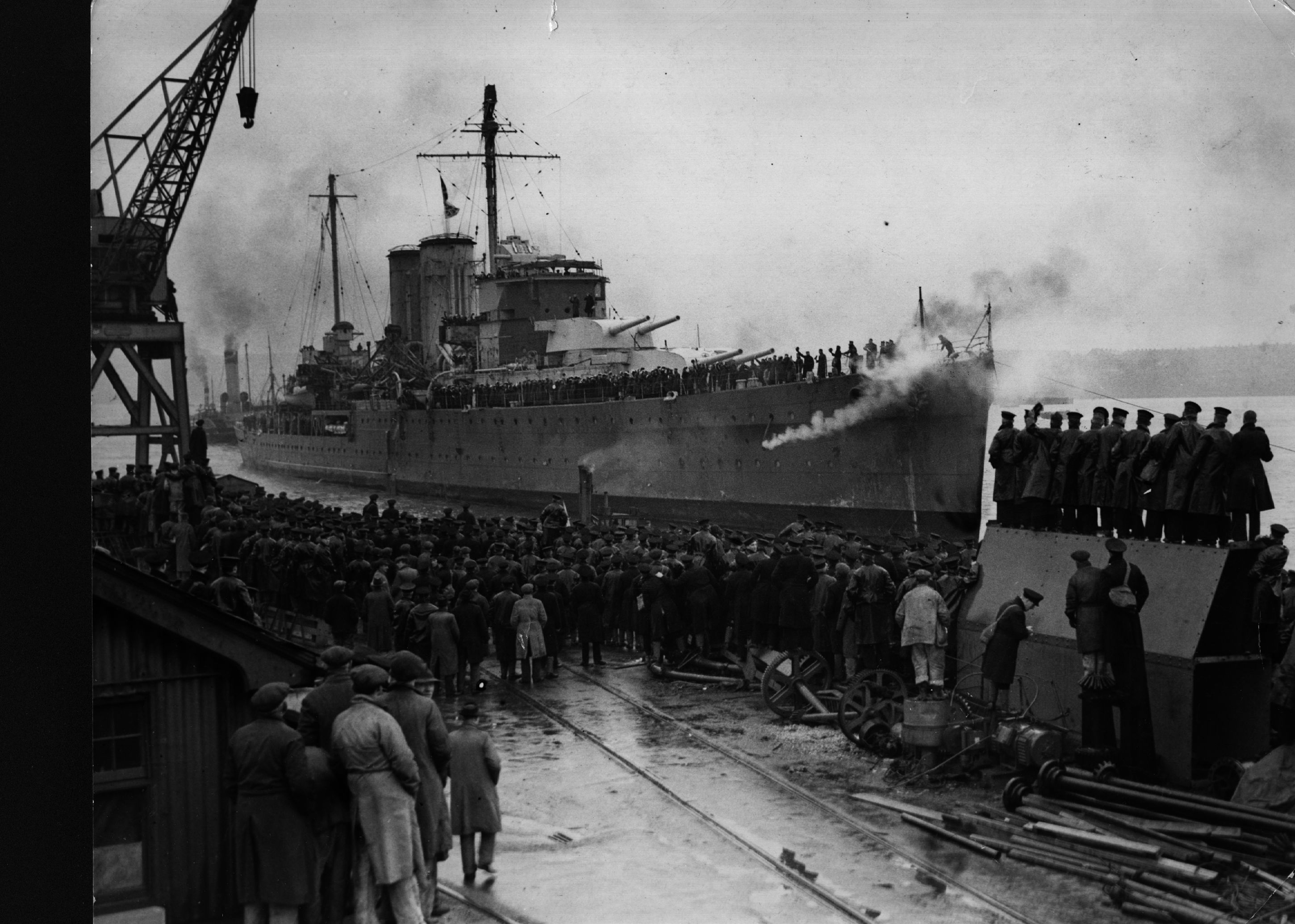 Welcome home: the cruiser 'Exeter' arrives back at Plymouth, c15 February 1940, after taking part in the battle of the River Plate. The action resulted in the scuttling of the German pocket battleship 'Admiral Graf Spee', which had sent several British merchant ships to the bottom of the Atlantic. (Photo by Hulton Archive/Getty Images)