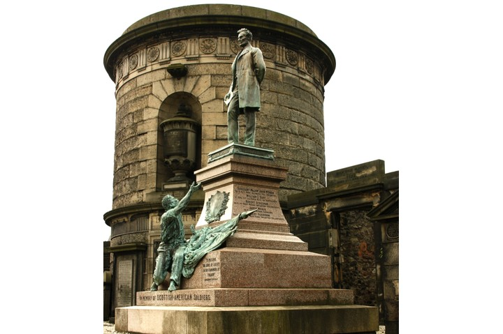The Edinburgh memorial to Scots who fought in the Union army. Erected in 1893, it shows a former slave gazing up at Abraham Lincoln. (Getty Images)